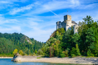 Niedzica Castle - Dunajec Castle -  in the Pieniny mountains on a bright summer day / Poland